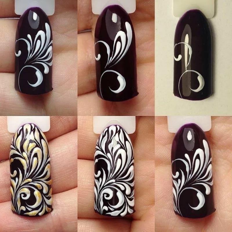 Вензеля на ногтях фото или схемы
