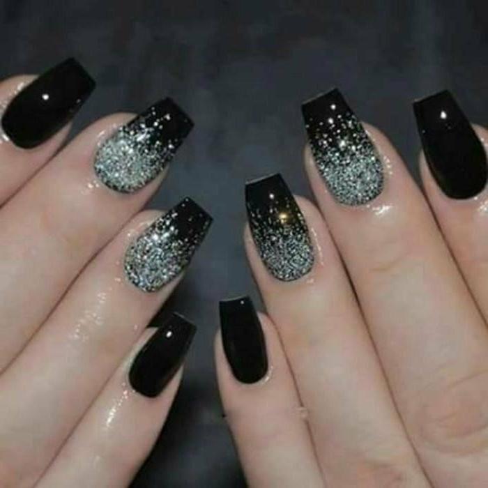 Дизайн Черных Ногтей С Блестками Фото