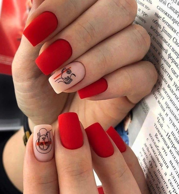 Дизайн Ногтей Красный И Телесный
