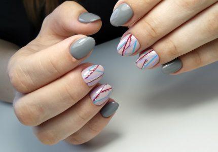 Серый Дизайн ногтей
